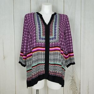 NYDJ Colorful Boho Tribal Print Blouse
